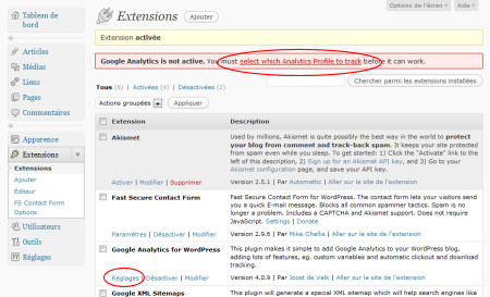 "L'extension ""Google Analytics for WordPress est activée"