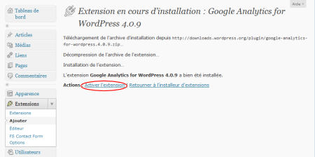 "L'extension ""Google Analytics for WordPress"" est installée"