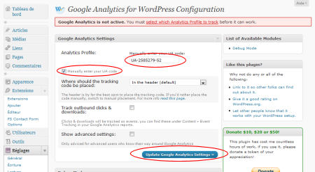 Réglage de l'extension quot;Google Analytics for WordPress""