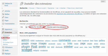 "Recherche de l'extension ""Google Analytics for WordPress"""