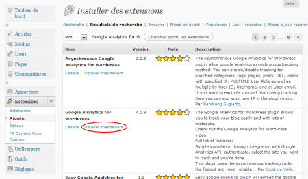 "Résultat de la recherche de l'extension ""Google Analytics for WordPress"""